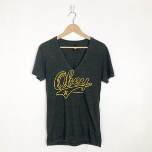 Obey v-neck graphic tee